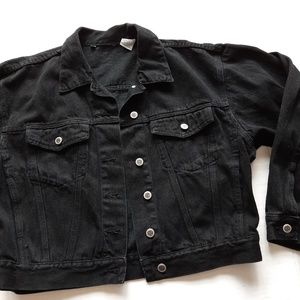 Vintage Bill Blass Black Denim Jean Jacket